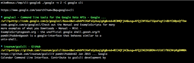 cli google colored output