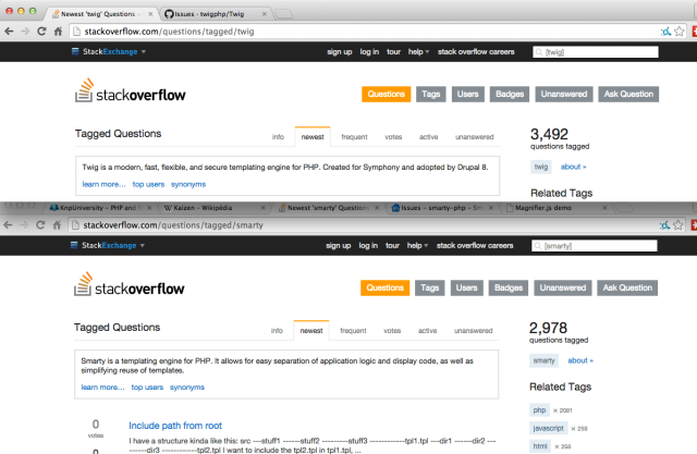 twig and smarty stackoverflow tag counts