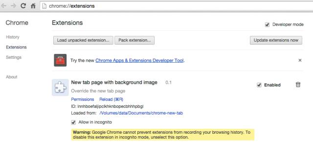 Chrome extensions developer mode