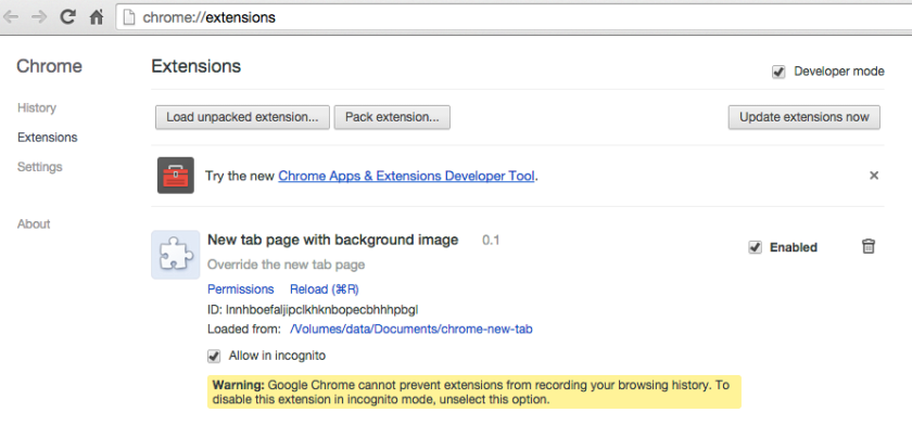 Chrome extensions developer mode