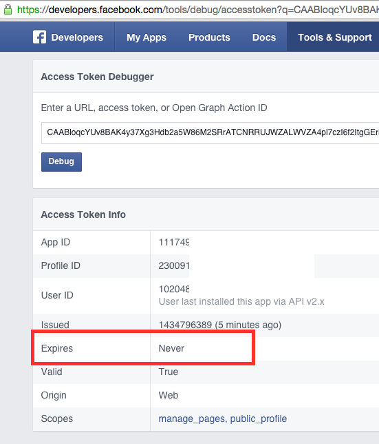 FB neves expiring page access token