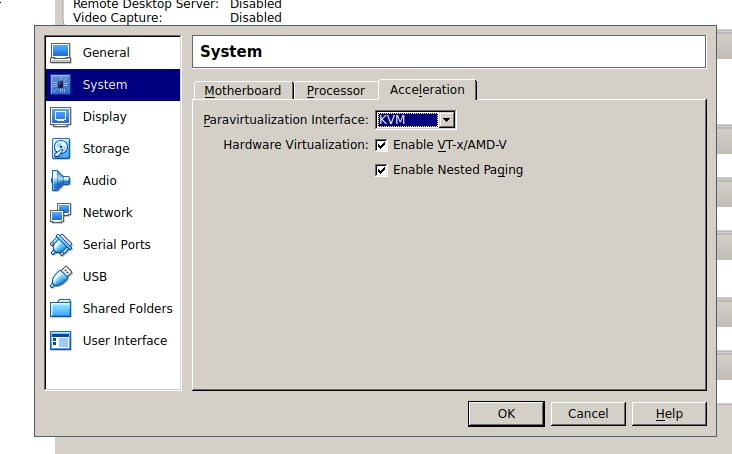 VirtualBox Hardware Virtualization