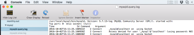 mysqld query log OSX