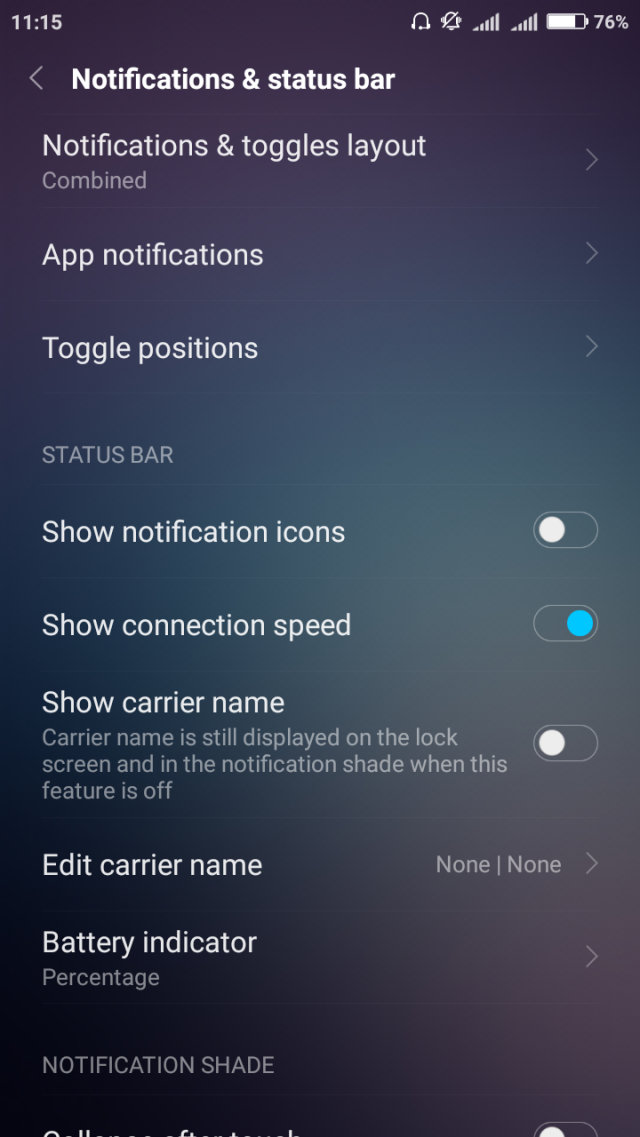 Xiaomi notifications, toggle Show connection speed